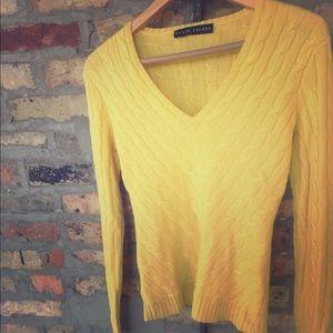 Ralph Lauren vneck cable knit cashmere sweater
